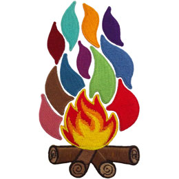 Campfire, Flame, Guiding, Set, Patch, Embroidered Patch, Merit Badge, Badge, Emblem, Iron On, Iron-On, Crest, Lapel Pin, Insignia, Girl Scouts, Boy Scouts, Girl Guides