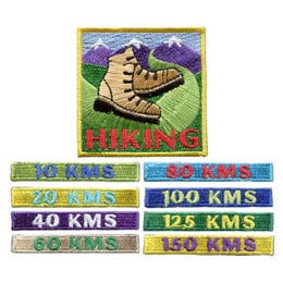 Kilometers, KM, KMS, Hiking, Hike, Boot, Mountain, Stream, Path, Patch, Embroidered Patch, Merit Badge, Badge, Emblem, Iron On, Iron-On, Crest, Lapel Pin, Insignia, Girl Scouts, Boy Scouts, Girl Guide