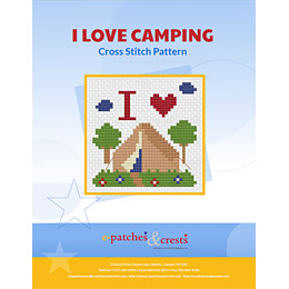 This downloadable PDF booklet has a cross stitched I Love Camping patch on the cover.