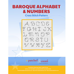 This PDF booklet has a cross stitched Baroque Alphabet & Numbers on the cover.
