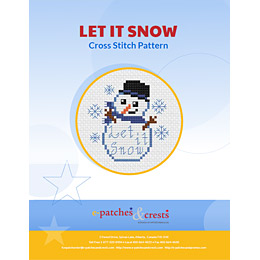 This PDF booklet has a cross stitched Snowman with a scarf and top hat on the cover. Snowflakes fall around the snowman and the words 'Let It Snow' are embroidered in the big ball of the snowman's body.
