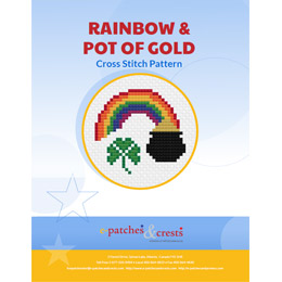 This PDF booklet has a cross stitched rainbow ending in a pot of gold on the cover. A three-leaf colver rests next to the pot of gold.