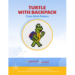 <p>This PDF booklet has a cross stitched turtle, wearing a backpack as he walks to school, on the cover.</p>