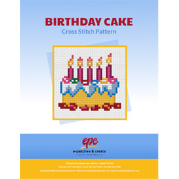 This PDF booklet has a cross stitched Birthday Cake on the cover. Five lit candles stand proudly on top of the cake.