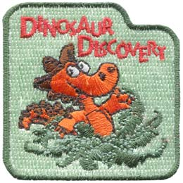 Dinosaur Discovery, Dinosaur, Fossil, Embroidered Patch, Crest, Merit Badge, Girl Guides, Girl Scouts