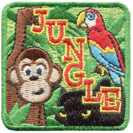 Jungle, Amazon, Monkey, Parrot, Panther, Patch, Embroidered Patch, Merit Badge, Badge, Emblem, Iron On, Iron-On, Crest, Lapel Pin, Insignia, Girl Scouts, Boy Scouts, Girl Guides