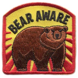 Bear Aware, Bear, Aware, Animal, Health, Safety, Growl, Cub, Patch, Embroidered Patch, Merit Badge, Badge, Emblem, Iron On, Iron-On, Crest, Lapel Pin, Insignia, Girl Scouts, Boy Scouts, Girl Guides