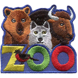 A bear, wolf and buffalo peer over the top of the word 'Zoo.'