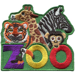 A tiger, giraffe, zebra, and monkey peer overtop of the word 'Zoo.'