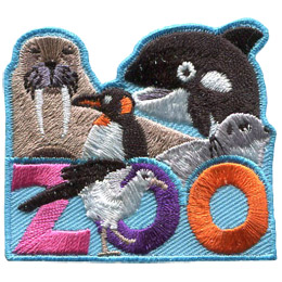 This roughly square patch has the word 'Zoo' at the bottom. A variety of Antarctic animals fill the top half of the badge. These include (from left to right) a walrus, penguin, orca, and seal. A sea gull sits in front of the 'O' in 'Zoo'.