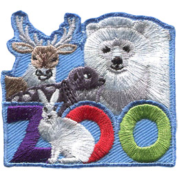 <p>This roughly square patch has the word 'Zoo' at the bottom. A variety of Anctic animals fill the top half of the badge. These include (from left to right) a caribou, seal, and polar bear. A arctic hare sits in front of the first 'O' in 'Zoo'.</p>