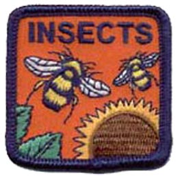 Insects, Bees, Sunflower, Pollen, Bugs, Pests,Patch, Embroidered Patch, Merit Badge, Badge, Emblem, Iron On, Iron-On, Crest, Lapel Pin, Insignia, Girl Scouts, Boy Scouts, Girl Guides