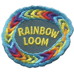 Rainbow, Loom, Weave, Purple, Blue, Red, Green, Art, Craft, Patch, Embroidered Patch, Merit Badge, Badge, Emblem, Iron On, Iron-On, Crest, Lapel Pin, Insignia, Girl Scouts, Boy Scouts, Girl Guides