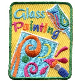 Glass, Painting, Brush, Colour, Draw, Craft, Art,  Patch, Embroidered Patch, Merit Badge, Badge, Emblem, Iron On, Iron-On, Crest, Lapel Pin, Insignia, Girl Scouts, Boy Scouts, Girl Guides