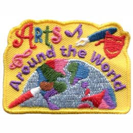 A half globe of the world sits at the bottom of this horizontal rectangular patch. The words ''Arts Around the World'' are embroidered above the half globe. The patch is decorated with a paintbrush, an ink pen, a treble-cleft, and a performance mask.