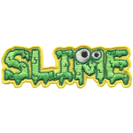 <p>This badge spells out the word 'Slime.' Each letter is covered in dripping green goop and the 'M' has two monster eyes on it.</p>