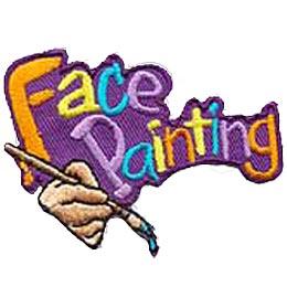 The words 'Face Painting'' are embroidered in different colours and are angled towards the top right. A hand holds a paint brush dripping with paint.