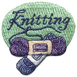 Knitting, Yarn, Wool, Needles, Knit, Crafts, Embroidered Patch, Crest, Merit Badge, Girl Guides, Girl Scouts