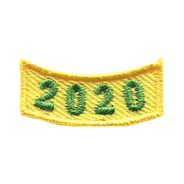 This 1.0 inch wide by 0.5 inch high yellow rocker curves upwards like a smile. The year 2020 is embroidered in a bold font.