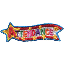 This award patch has a large star at the left attached to a banner of red, white, and red that streams towards the right. The word 'Attendance' is written from the star down the banner.