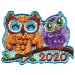 Two owls sit on a tree branch with the year 2020 underneath. The left most owl is larger than the other who has its head cocked to the side.