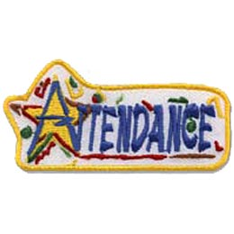 The words Attendance dominates this patch. The A in Attendance is embroidered over a yellow star so the top of the A forms the tip of the star. Confetti decorates the white background.