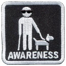 Blind, Awareness, Service, Dog, Visually, Impaired, Disability, Embroidered Patch, Merit Badge, Badge, Emblem, Iron On, Iron-On, Crest, Lapel Pin, Insignia, Girl Scouts, Boy Scouts, Girl Guides