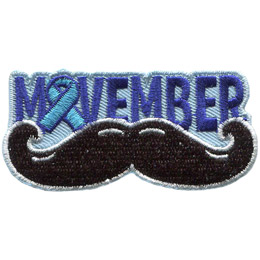 <p>A handlebar moustache sits under the word 'Movember.' The 'O' in 'Movember' is a blue ribbon.</p>