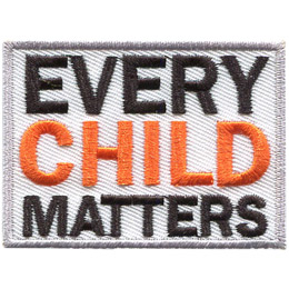 This grey bordered, white background crest has the words \'Every Child Matters\' stacked one on top of the other.