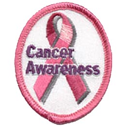 Cancer Awareness, Ribbon, Pink, Patch, Embroidered Patch, Merit Badge, Crest, Girl Scouts, Boy Scouts, Girl Guides