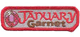 Birthstone, Stone, Birth, Garnet, Jewel, January, Month, Patch, Embroidered Patch, Merit Badge, Iron On, Iron-On, Crest, Girl Scouts, Boy Scouts, Girl