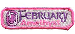 Birthstone, Stone, Birth, Amethyst, Jewel, February, Month, Patch, Embroidered Patch, Merit Badge, Iron On, Iron-On, Crest, Girl Scouts, Boy Scouts, G
