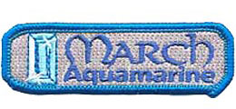 Birthstone, Stone, Birth, Aquamarine, Jewel, March, Month, Patch, Embroidered Patch, Merit Badge, Iron On, Iron-On, Crest, Girl Scouts, Boy Scouts, G