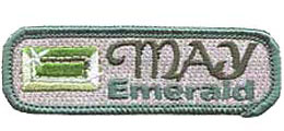 Birthstone, Stone, Birth, Emerald, Jewel, May, Month, Patch, Embroidered Patch, Merit Badge, Iron On, Iron-On, Crest, Girl Scouts, Boy Scouts, G
