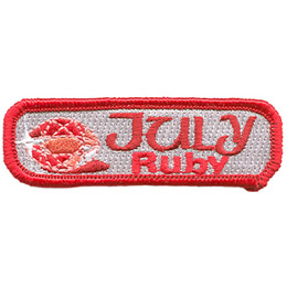 Birthstone, Stone, Birth, Ruby, Jewel, July, Month, Patch, Embroidered Patch, Merit Badge, Iron On, Iron-On, Crest, Girl Scouts, Boy Scouts, G