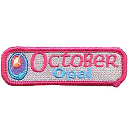 Birthstone, Stone, Birth, Opal, Jewel, October, Month, Patch, Embroidered Patch, Merit Badge, Iron On, Iron-On, Crest, Girl Scouts, Boy Scouts,