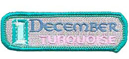 Birthstone, Stone, Birth, Turquoise, Jewel, December, Month, Patch, Embroidered Patch, Merit Badge, Iron On, Iron-On, Crest, Girl Scouts, Boy Scouts,
