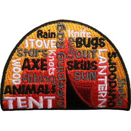 This square patch is filled with words going every which direction with a tent in the background. The most prominent say 'Tent', 'Sleeping Bag', 'Lantern', and 'Outdoors'.