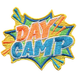The words 'Day Camp' shoots out of an explosion bubble.