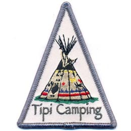 This triangle shaped crest displays a colorfully painted tipi. The words ''Tipi Camping'' are embroidered underneath the aboriginal structure.