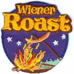Wiener, Weiner, Roast, Campfire, Hot Dog, Stars, Cooking, Stick, Patch, Embroidered Patch, Merit Badge, Crest, Girl Scouts, Boy Scouts, Girl Guides