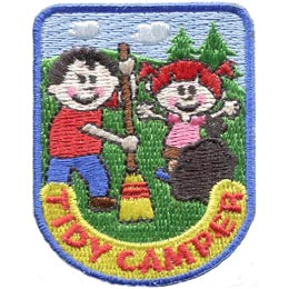 Boy, Girl, Broom, Clean, Trash, Camp, Tree, Patch, Embroidered Patch, Merit Badge, Badge, Emblem, Iron On, Iron-On, Crest, Lapel Pin, Insignia, Girl Scouts, Boy Scouts, Girl Guides