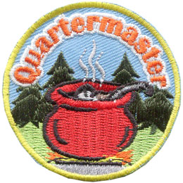 Quartermaster, Pot, Soup, Cook, Camp, Food, Stove, Patch, Embroidered Patch, Merit Badge, Badge, Emblem, Iron On, Iron-On, Crest, Lapel Pin, Insignia, Girl Scouts, Boy Scouts, Girl Guides