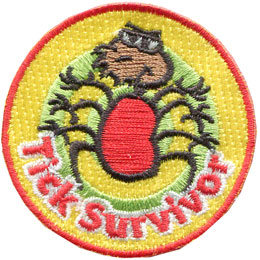 Tick, Bug, Pest, Camp, Woods, Patch, Embroidered Patch, Merit Badge, Badge, Emblem, Iron On, Iron-On, Crest, Lapel Pin, Insignia, Girl Scouts, Boy Scouts, Girl Guides