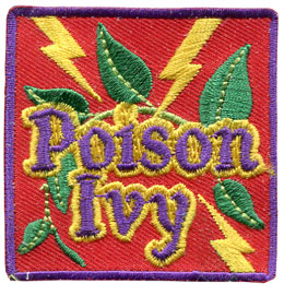Poison, Ivy, Lightning, Plant, Itchy, Scratch, Patch, Embroidered Patch, Merit Badge, Badge, Emblem, Iron On, Iron-On, Crest, Lapel Pin, Insignia, Girl Scouts, Boy Scouts, Girl Guides