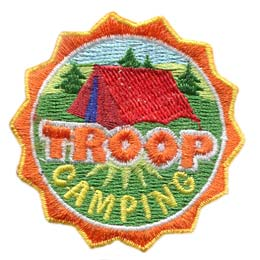 Camping, Troop, Tent, Patch, Embroidered Patch, Merit Badge, Badge, Emblem, Iron On, Iron-On, Crest, Lapel Pin, Insignia, Girl Scouts, Boy Scouts, Girl Guides