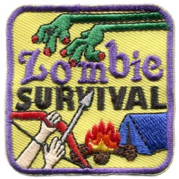 Zombie, Survival, Zombie Survival, Tent, Fire, Bow, Arrow, Patch, Embroidered Patch, Merit Badge, Badge, Emblem, Iron On, Iron-On, Crest, Lapel Pin, Insignia, Girl Scouts, Boy Scouts, Girl Guides