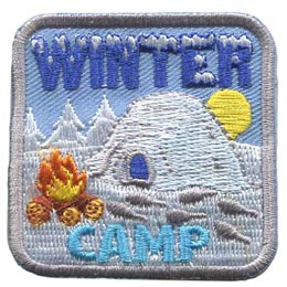 Winter, Camp, Igloo, Snow, Fire, Sun, Tree, Patch, Embroidered Patch, Merit Badge, Badge, Emblem, Iron-On, Iron On, Crest, Lapel Pin, Insignia, Girl Scouts, Boy Scouts, Girl Guides