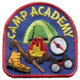 Camp, Academy, Tent, Fire, Compass, Hike, Embroidered Patch, Merit Badge, Badge, Emblem, Iron On, Iron-On, Crest, Lapel Pin, Insignia, Girl Scouts, Boy Scouts, Girl Guides