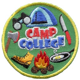 Camp, College, Tent, Outdoor, Knife, Axe, Fire, Hike, Wood, Patch, Embroidered Patch, Merit Badge, Badge, Emblem, Iron On, Iron-On, Crest, Lapel Pin, Insignia, Girl Scouts, Boy Scouts, Girl Guides